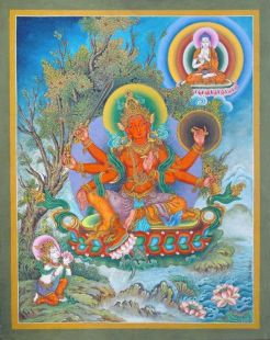 Six Arm Red Avalokiteshvara hand painted thanka