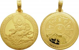 Gold yellow Zambala with mantra pendant (Double sided)