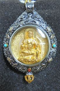 Sterling Silver. Acalacetla/Protection Mandala gilt gold statue pendant.